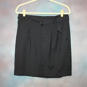Short Straight Lined Skirt with Belt & Pockets